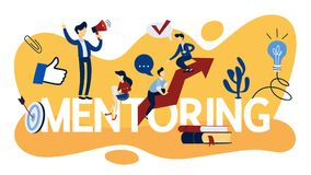 Mentoring concept illustration. Mentoring concept. Idea of leadership and teamwork. Support and giving advice to employee. Isolated flat vector illustration vector illustration