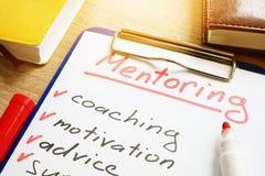 Mentoring. List of skills for mentor. Mentoring concept. List of skills for mentor royalty free stock images