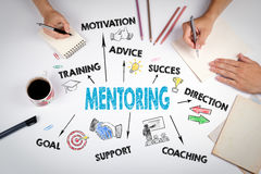 Mentoring Concept. The meeting at the white office table.  Royalty Free Stock Photography