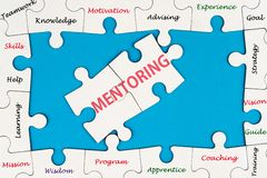 Mentoring concept. Word cloud on group of jigsaw puzzle pieces stock photo
