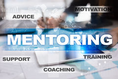 Mentoring. Education concept. E-Learning. Success. Mentoring on virtual screen. Education concept. E-Learning. Success royalty free stock photo