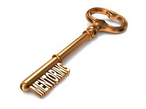 Mentoring - Golden Key. Mentoring - Golden Key on White Background. 3D Render. Business Concept Royalty Free Stock Photos