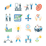 Mentoring Icons Flat Set Stock Photography