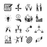 Mentoring Icons Set. Mentoring black icons set with goal teamwork guidance symbols isolated vector illustration stock illustration