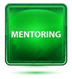 Mentoring Neon Light Green Square Button vector illustration