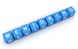 Mentoring sign. An illustration of mentoring sign made of blue cubes with letters Stock Images