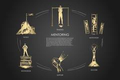 Mentoring,support, motivation, goals, knowledge concept vector set royalty free illustration