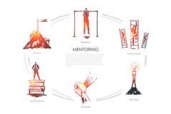 Mentoring,support, motivation, goals, knowledge concept vector set vector illustration