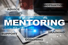 Mentoring on the virtual screen. Education concept. E-Learning. Success. Stock Image
