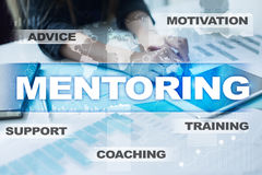 Mentoring on the virtual screen. Education concept. E-Learning. Success. Royalty Free Stock Photo