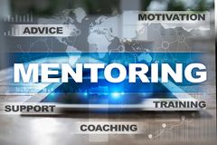 Mentoring on the virtual screen. Education concept. E-Learning. Success. Royalty Free Stock Images
