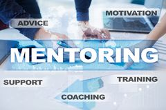 Mentoring on the virtual screen. Education concept. E-Learning. Success. Stock Photo
