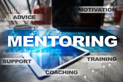 Mentoring on the virtual screen. Education concept. E-Learning. Success. Royalty Free Stock Photography