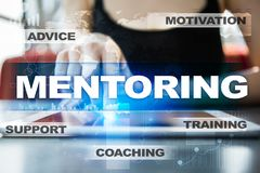 Mentoring on the virtual screen. Education concept. E-Learning. Success. Mentoring on the virtual screen. Education concept. E-Learning. Success stock photo
