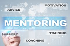 Mentoring on the virtual screen. Education concept. E-Learning. Success. Mentoring on the virtual screen. Education concept. E-Learning. Success Royalty Free Stock Image