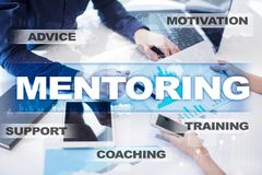 Mentoring on the virtual screen. Education concept. E-Learning. Success. Mentoring on the virtual screen. Education concept. E-Learning. Success Stock Image