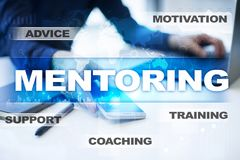 Mentoring on the virtual screen. Education concept. E-Learning. Success. Mentoring on the virtual screen. Education concept. E-Learning. Success royalty free stock photo