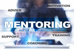 Mentoring on the virtual screen. Education concept. E-Learning. Success. Mentoring on the virtual screen. Education concept. E-Learning. Success royalty free stock photos