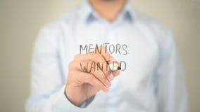Mentors Wanted , Man writing on transparent screen stock photos