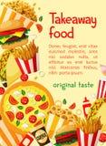 Menu à emporter de restaurant d'affiche de vecteur d'aliments de préparation rapide Photo stock
