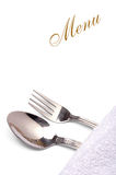 Menu. Card with spoon and fork on white Royalty Free Stock Photo