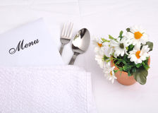 Menu. Background around towel and spoon Stock Photos