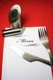 Menu. With fork and knife aside (shallow DOF Stock Photos