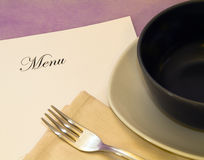 Menu. Whit plate holster fork and napkin Royalty Free Stock Photos