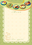 Menu. The image can be used as a food menu for a small restaurant or cafe Royalty Free Stock Image