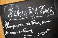 Menu. Board with the daily menu, paris, france Royalty Free Stock Photography