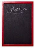 Menu. Empty restaurant menu on a wood blackboard Royalty Free Stock Images