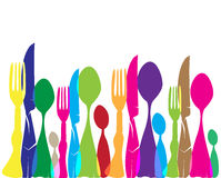 Menu. Profile of cutlery with human forms Stock Images