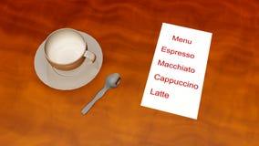 Menu 3d del caffè Fotografie Stock Libere da Diritti