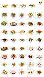 Menu. Dish selection isolated on white background Royalty Free Stock Photo