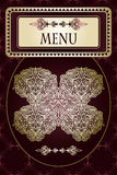 Menu on  abstract  floral pattern Royalty Free Stock Photography