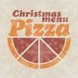 Menu abstrait de Noël de vecteur pour la pizza Images stock