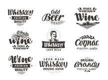 Menu, alcoholic drinks. Vector labels wine, beer, whiskey, brandy, cognac. Menu, alcoholic drinks. Vector labels wine, beer, whiskey, brandy cognac isolated on stock illustration