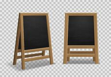 Free Menu Announcement Board. Realistic Black Wooden Easel, Sidewalk Stand, Restaurant Board Different Angles For Street Menu Royalty Free Stock Image - 170566466