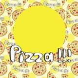 Menu anteriore della copertura senza cuciture della pizza di stile di scarabocchio Immagini Stock Libere da Diritti