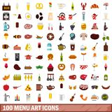 100 menu art icons set, flat style. 100 menu art icons set in flat style for any design vector illustration Royalty Free Illustration