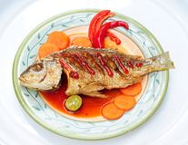 Menu asiático de peixes fritados Fotografia de Stock