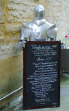 Menu au restaurant local dans Sarlat, France Images libres de droits