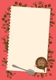 Menu avec la feuille de papier, de cuillère et de cire de cachetage illustration stock