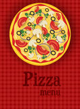 Menu background with pizza Stock Images