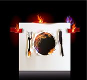 Menu background with  plate, knife and fork with flame Royalty Free Stock Photo