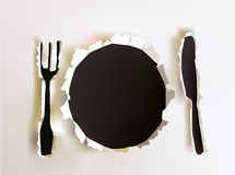 Menu background with  plate, knife and fork Stock Photos