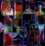 Menu background,stylized wine bottles Stock Images