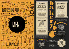 Menu bakery restaurant, food template placemat. Royalty Free Stock Photography