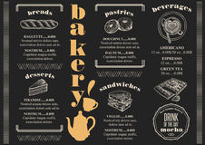 Menu bakery restaurant, food template placemat. Bakery coffee menu placemat food restaurant brochure; cafe template design. Vintage creative bread flyer with vector illustration