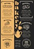 Menu bakery restaurant, food template placemat. Stock Photography